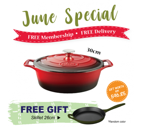 Oval Casserole 30cm - RED