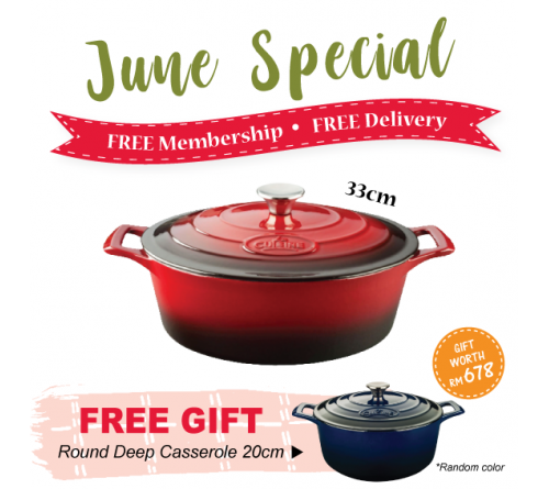 Oval Casserole 33cm - RED