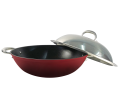 Wok Set with Stainless Steel Lid 35cm - RED
