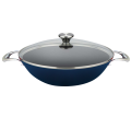 Wok Set with Glass Lid 35cm - BLUE