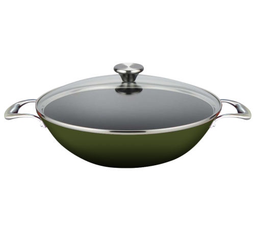 Wok Set with Glass Lid 35cm - GREEN