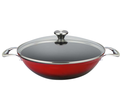 Wok Set with Glass Lid 35cm - RED